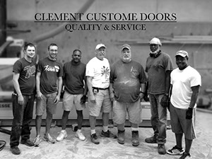 A group shot of the craftsmen of Clement Custom Doors.